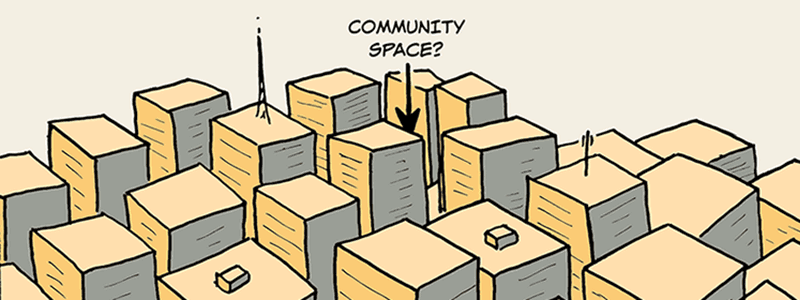 Caption: Community Spaces in the City?
